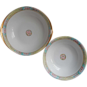 Antique Hand Painted China 2 Large Serving Bowls Pink Turquoise Gold