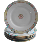 Antique Hand Painted China 6 Dinner Plates Pink Turquoise Gold