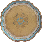 Vintage Florentine Tray Wood Gesso Italy Gold Light Turquoise Color