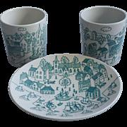 Vintage Danish Paul Hoyrup Harbor Scene Nymolle Cup Plate Saucer Demitasse