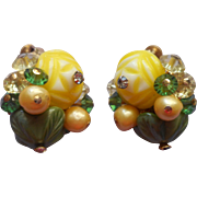 Vintage Vendome Earrings Glass Crystal Cluster Yellow Rose Green
