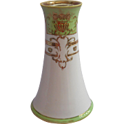 1920s Hatpin Holder Noritake Hand Painted Green White Gold Vintage