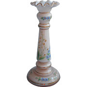 1920s Enameled Cased Glass Candlestick Vase Vintage Poland Lily Of The Valley