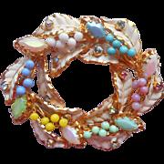 Vintage Austrian Brooch Pastel Glass Stones Leaves Berries Spring Austria