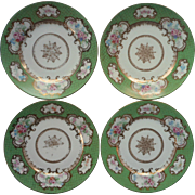Bernardaud Limoges France 4 Plates Antique Green Gold Pink Roses For Higgins Seiter China
