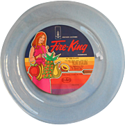 Vintage Fire King Pie Plate Mod Graphic Original Early 1970s Label
