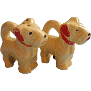 Vintage Airedale Terrrier Puppies Salt Papper Shakers Japan Hand Painted