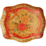 Papier Mache Tray Vintage Occupied Japan Paper Red orange