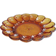 Vintage Deviled Egg Plate Amber Pressed Glass Indiana