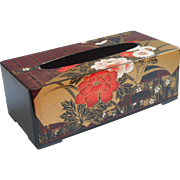 Vintage Japan Tissue Box Cover Plastic Faux Lacquer Black