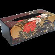 Vintage Japan Tissue Box Cover Plastic Faux Lacquer Black