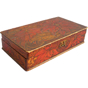 Antique Pyrography Box Poinsettia Flowers Wooden Pokerwork