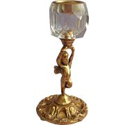 Cherub Cut Glass Ornate Metal Vintage Lighter Stand Use For Candle