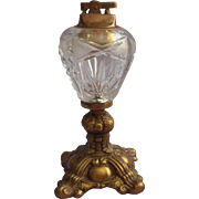 Cut Glass Ormolu Table Lighter Vintage Ornate Metal Crystal