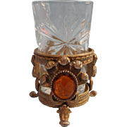 Vintage Matson Stylebuilt Globe Powder Room Tumbler Amber Jeweled Ornate Metal Ormolu