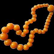 Bakelite Necklace Graduated Beads Butterscotch Vintage 1930s 18 Inch