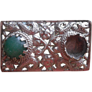 1930s Chinese Export Pin Brooch Vintage Missing Aventurine Cabochon Stone TLC