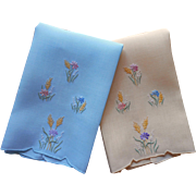 Madeira Guest Towels Vintage Linen Blue Yellow Hand Embroidered TLC