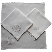Monogram P Napkins Antique 2 Hand Embroidered Linen Plus Another