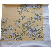 Vintage Printed Tablecloth Southern Homes Yellow White Roses Lilacs Kitchen Print