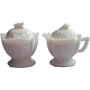 Milk Glass Creamer Sugar Bowl Lids Westmoreland Vintage Cherries Grapes