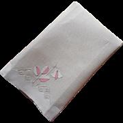 ca 1930 Art Deco Linen Guest Hand Towel Unused Appliqued Pink Accents