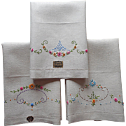 1920s Linen Towels Unused Linen Bright Hand Embroidery Czechoslovakia Original Labels