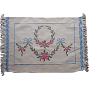 Antique Pillow Cover Hand Embroidery Blue Bows Pink Roses Linen 1910s Fringe