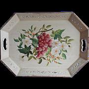 Vintage Tole Tray Hand painted Pilgrim Art Cream Flowers Grapes
