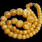 1930s Venetian Glass Beads Necklace Choker Length Yellow Gold Aventurine Swirl