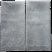 Pair Antique Linen Damask Large Towels Campanula Flowers Weave Motif