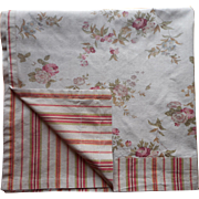 Vintage Stripe And Roses Floral Heavy Curtain Panel or Use As Tablecloth 83 x 43