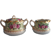 Nippon Creamer Sugar Bowl Set Hand Painted China Roses Pink Green