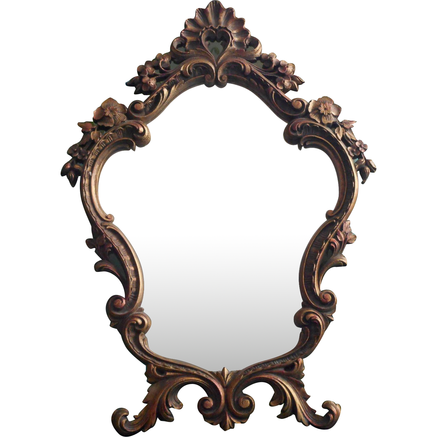 Vintage ornate mirror easel style standing rococo pressed for Ornate mirror