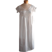 Antique XL Nightgown Crocheted Lace Top Yoke All Cotton Unused