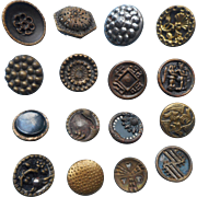 Victorian Buttons Metal Antique 16 Picture Etc