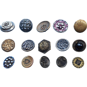 Victorian Buttons Metal Antique 15 Picture Etc