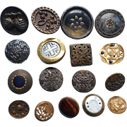 Victorian Buttons Metal Antique 16 Picture Bennington Glass Insert Etc