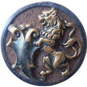 Victorian Picture Button Lion Wood Brass Antique Large 1.5 Inch