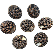 Victorian Buttons Strawberries Bees Picture Metal Antique Set 7
