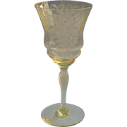 Yellow Etched Glass Sherry Wine Stem Vintage Poppies Pattern Elegant Era