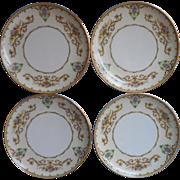 Noritake Arabella 4 Cream Soup Liners Dessert Plates Vintage China