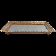 Vintage Perfume Tray Ornate Metal Filigree Vanity Mirror Rectangular Flanged