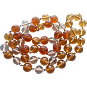 1920s Glass Necklace Beads On Wire Amber Colored Vintage Pressed Glass And Clear