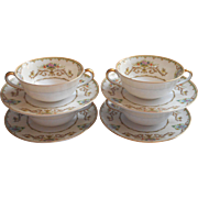 Noritake Arabella 4 Cream Soup Bowls Under Plates Vintage 1930s China