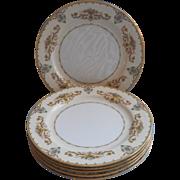 Noritake Arabella 6 Dinner Plates Vintage 1930s China