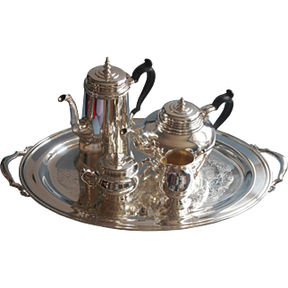 Vintage Tea Coffee Set Oneida Silver Plated Bennington Teapot Coffee Pot Tray Creamer Sugar Bowl