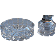 Mikasa Lighter Ashtray Set Heavy Handsome Crystal Butane