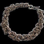 Vintage Byzantine Link Sterling Silver Bracelet 7.75 Inch
