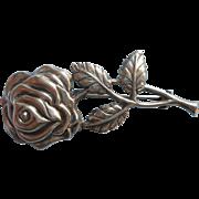 Vintage Sterling Rose Silver Pin Full Blown Rose